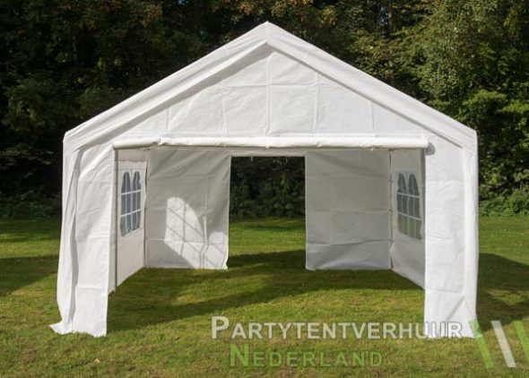 Partytent 4x4 meter voorkant met deur open huren - Partytentverhuur Leiden