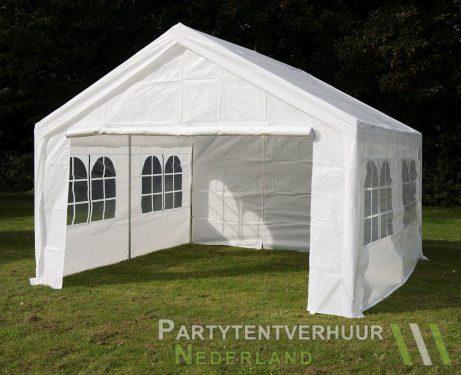 Partytent 4x4 meter voorkant schuin huren - Partytentverhuur Leiden