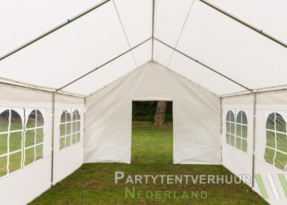 Partytent 4x6 meter voorkant met deur huren - Partytentverhuur Leiden